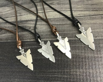Mens Arrowhead Necklace for Men Arrow Necklace Brown Cord Necklace Mens Surfer Necklace Surfer Jewelry Surfing Jewelry Silver Arrowhead