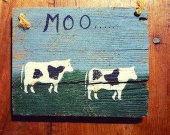 Cow Art hand painted on wood, Folk art, Americana