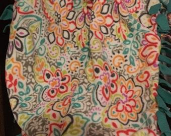 Colorful Fleece Tie Throw Blanket