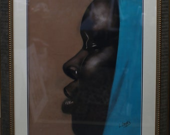 Blue Scarf is original Pastel By Laurie Cooper Framed and Matted (36x48) Black Art,African American Art,Wall Art.
