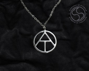 Atheism Symbol Pendant Stainless Steel Jewelry Atheist Necklace Keychain Logo Emblem Amulet Talisman Charm Sign Sigil Medallion Jewellery