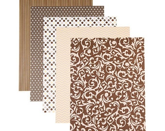 Patterned 8.5x11 Cardstock Paper Pack, Neutral Prints, 25 Sheets
