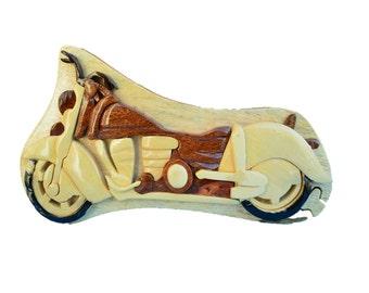 Wood Jewelry Box, wooden jewelry box, Motorcycle Jewelry Box, Wood Motorcycle Jewelry Box, Puzzle Box,