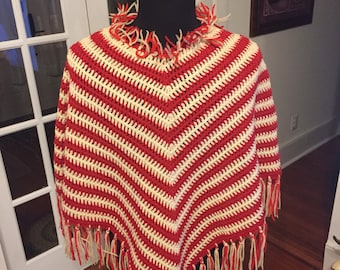 Hand Crafted Knitted Vintage Shawl / Poncho