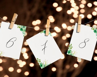 printable wedding table numbers green wedding table numbers green watercolor floral table numbers instant download wedding table numbers