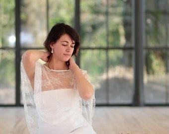 Lace cape , lace poncho , bridal cover up , cape , poncho
