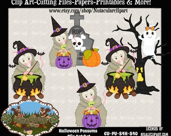 Halloween Clip Art - Possums Clip Art - Witch Possums Clip Art - Commercial Use Scrapbooking Card Making Clip Art - Instant Download