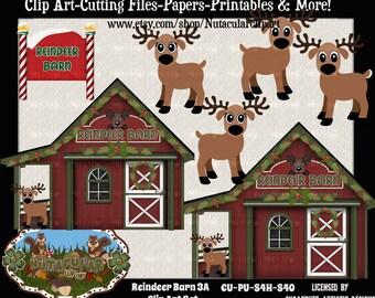 Reindeer Barn Clip Art Set 3A – Christmas Clip Art - Commercial use – Reindeer Clip Art -Scrapbooking Card Making Clip Art