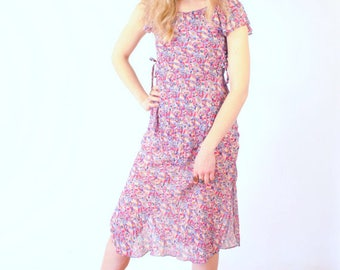 SALE ~ Summertime Vintage c. 1970's Chicago Floaty Floral Liberty Hippie Dress Flower Power Size S Small