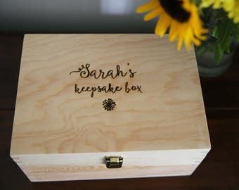 Personalised Keepsake Box - Engraved Wooden Box - Large Wooden Personalised Box- Personalised Memory Box