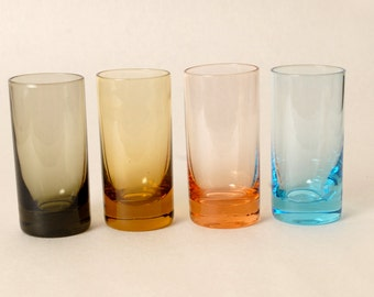 4 Vintage Retro Shot Glasses in Multi Colors-Barware-Blue-Peach-Brown-Charcoal