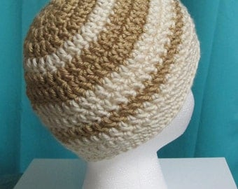 Two-Color Crochet Beanie Cap Hat Custom Sizes Available