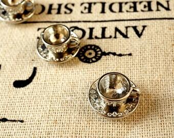Teacup charms 5 antique silver vintage style pendant charm jewellery supplies C139