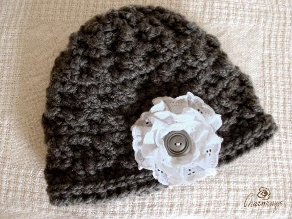 Elegant Charcoal Crochet Hat, Eyelet Flower Brooch, Floral Pin, Shabby chic hat, Rustic grey crochet hat, Boho hat, Winter Fashion Apparel