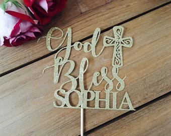 Baptism cake topper, god bless cake topper, cross cake topper, baptism girl cake topper, baptism decorations, gold cake topper