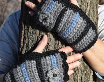 Crochet fingerless gloves, arm warmer, knitted mittens, autumn gloves, boho gloves, crochet mittens, hand knit grey gloves