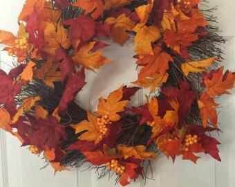 Fall wreath / front door wreath / door wreath /  holiday wreath / thanksgiving wreath