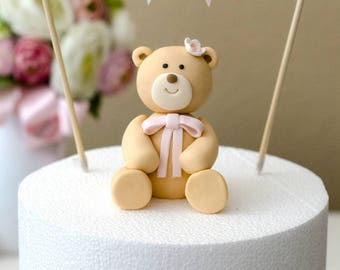 Girl Teddy Bear Fondant Cake Topper