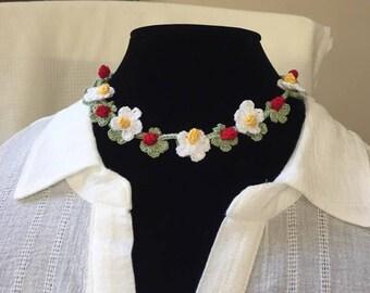Strawberry Crochet Necklace /Choker.