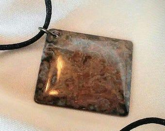 Brass Pendant / Necklace / Diamond Shape Brass Pendant / Patina Brass / Resin Patina Brass Pendant
