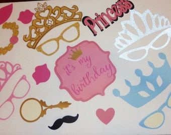 Disney Princess Photo Props - Tiaras Photo Booth Props- Birthday Photo Props