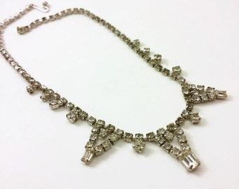 Vintage Rhinestone Necklace Fantabulously Blingy 50's