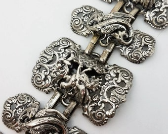Napier Dragan Silver Plated Chunky Bracelet Book Piece Gothic