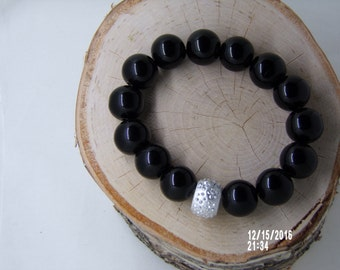 N1245 Large Black Ceramic Beaded Bracelet with silver crystal connector.