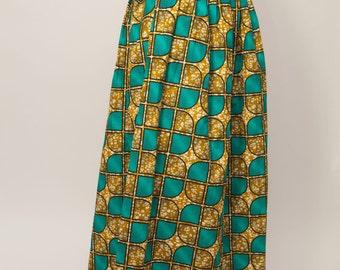 Long skirt in wax, fabric africian