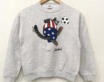 Rare!! Vintage 90's CRAZY SHIRT hawaii Boys Sweatshirt Pullover Jumper White Colour