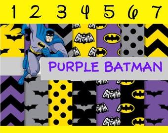 Purple Batman 12x12, Pattern Vinyl, Printed Vinyl, Adhesive Sticky Craft Vinyl,HTV Vinyl