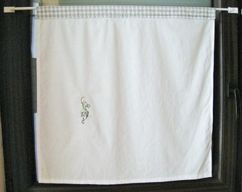 "White Scheibengardine with Tunnendurchzug embroidered with flower ornament, opaque, approximately h66xb64cm - h26x25, 25B"", curtain, grey white Plaid,"