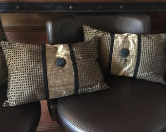 Only 32.55 for 3 throw pillow/hand made/black and gold pillows/matching pillow set
