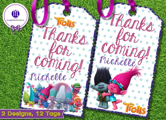 Trolls Personalized Thank You Tags