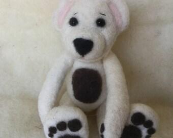 Needle Felted Wool Fiber - Teddy Bear