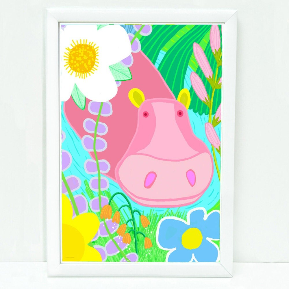 Whimsical hippo art print for kids, sophisticated art for kids ...