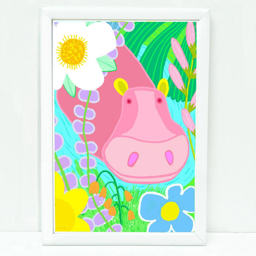 whimsical hippo art print for kids sophisticated art for kids childrens decor art for kids wall prints for kids room pink cute hippo - Print For Kids