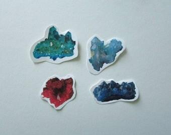 Set Of Four Colorful Crystal Stickers