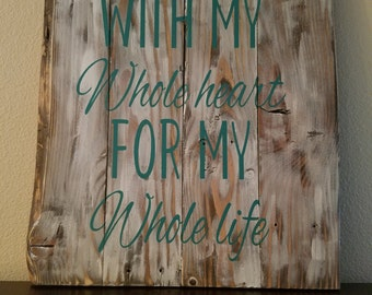 Reclaimed wood made into the perfect sign for your wedding and your home