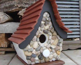 Funky Stone Bird House, Wooden Birdhouse, Painted Birdhouse, Outdoor Birdhouse, Stone Birdhouse