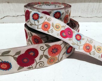 bright floral pattern jacquard ribbon