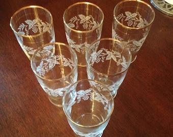 Vintage Bartlett-Collins Frosted Grapevine Gold Rimmed Glasses Set of 6