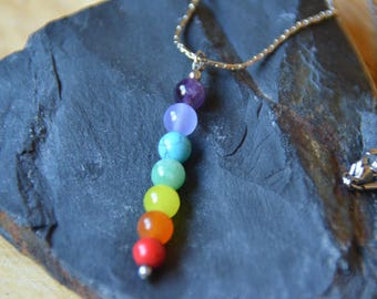 Beaded Chakra Pendant on Stainless Steel Chain