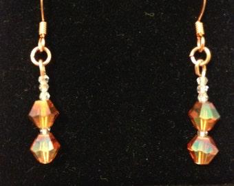 Fall Tone Swarovski Crystal Drop/Dangle Earrings