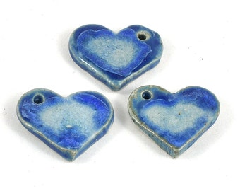Handmade Ceramic Heart Focal Bead - Fused Glass Pottery Pendant - 30x22mm - Jewellery and Craft Supplies - 4 available - DeeDeeSupplies