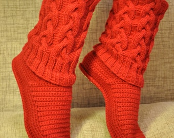 Slippers, Knit Slippers, Knitted Slippers, Custom Order, Soft Wool Cable Knit Slippers, Knit Cable Slipper Boots, Cable Slippers
