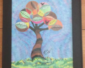 The Tree (Colored Pencil, Pen, Graphite Pencil)  in Stained Wall Frame.