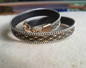 2 in 1 Handmade strap bracelet or choker gold-black-silver