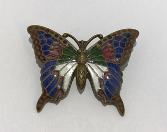 PIN old Butterfly in 1940 1950 cloisonné. French vintage jewelry