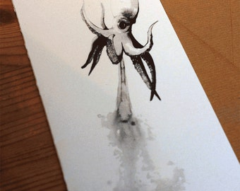 Hand-drawn squid greeting card-Limited Edition natural world and animal art drawn in ink-105x297 mm with hand-made envelope